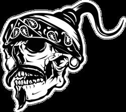 Gangster Skull Mustache Biker Sticker