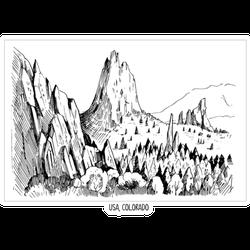 Garden Of Gods Colorado Sketch Sticker