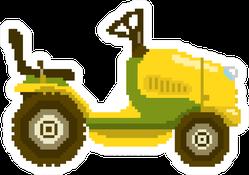 Garden Tractor In 8 Bit Game Style Pixel Yellow Sticker