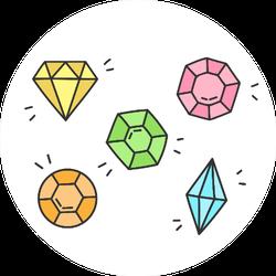 Gems, Jewel Illustration Sticker