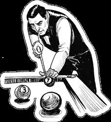 Gentleman Playing Billiard Illustration Sticker