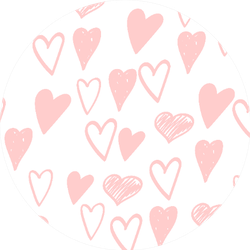 Gently Pink Hearts Doodle Sketch Pattern Sticker