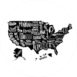 Geographical USA Map With States Sticker