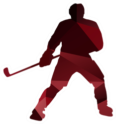 Geometric Ice Hockey Player Silhouette Sticker
