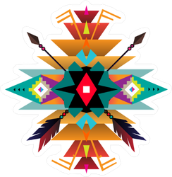Geometric Native American Design Ornament Sticker