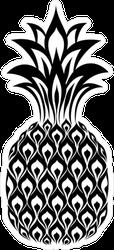 Geometric Pineapple Black And White Sticker