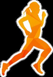 Geometric Running Woman Sticker