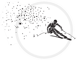 Geometric Triangle Ski Racer Silhouette Sticker