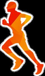 Geometrical Orange Running Man Sticker