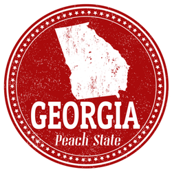 Georgia Peach State Outline Circle Sticker