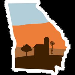 Georgia State Shape Farm At Sunset Sticker