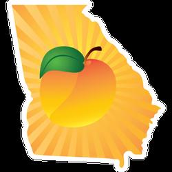 Georgia State With Peach Fruit Sticker