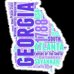 Georgia Usa State Map Word Collage Sticker