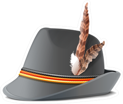 German Hat With Feather Sticker
