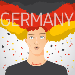 German Man With National Flag In Afro Hair Sticker