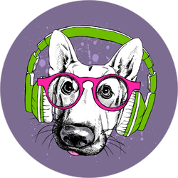 German Shepherd In Pink Glasses And Green Headphones Sticker