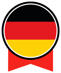 Germany Flag Button And Ribbon Sticker