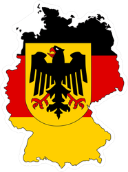 Germany Flag In Form Of A Map Sticker