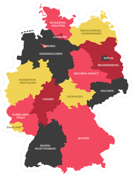 Map Of Germany Regions.Germany Regions Map Sticker