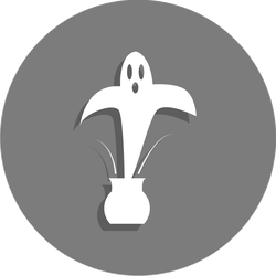 Ghost Coming Out Of A Pot Circle Sticker