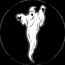 Ghost Illustration On Black Sticker