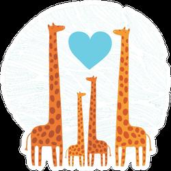Giraffe Family Illustration In Blue Sticker