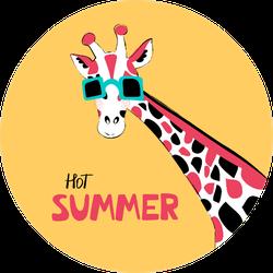 Giraffe Hot Summer Illustration Sticker