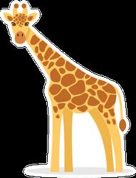 Giraffe In A Cartoon Style Sticker