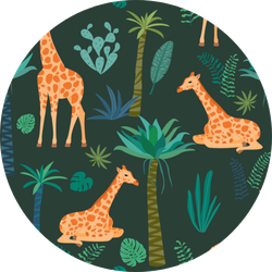 Giraffe Pattern With Tropical Leaves Sticker