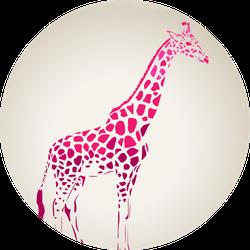 Giraffe Silhouette, Abstract Animal Pink Sticker