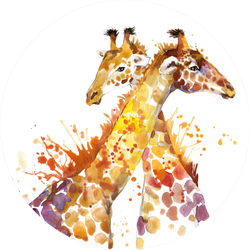 Giraffe Watercolor Illustration With Splash Sticker