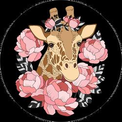 Giraffe With Pink Peonies Sticker