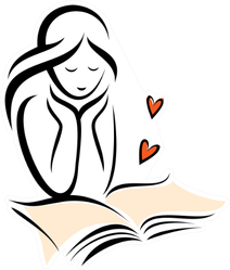 Girl And Romantic Book, Sketch Sticker