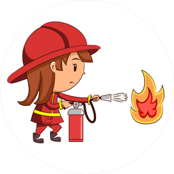 Girl Firefighter With Fire Extinguisher Sticker