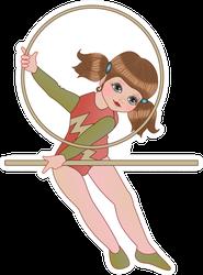 Girl Gymnast Dressed In Pink Leotard Sticker