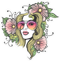 Girl In Glasses And Flowers Hippie Sticker