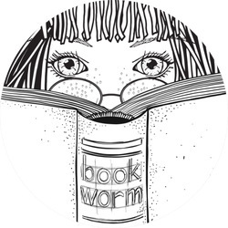 Girl Is Reading Book, Bookworm Sketch Sticker