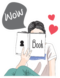 Girl Loves To Read Doodle Sticker
