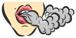 Girl Making Vape Cloud Sticker