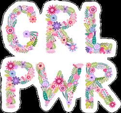 Girl Power Flower Letter Sticker
