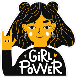 Girl Power Hand Rock Sticker