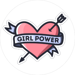 Girl Power Heart Feminism Quote Sticker