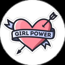 Girl Power Heart Feminism Quote Sticker