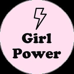 Girl Power Lightning Bold Circle Sticker