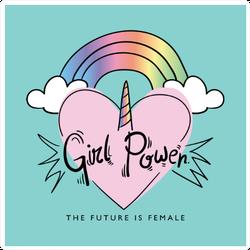 Girl Power Unicorn Sticker
