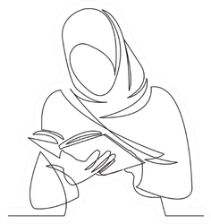 Girl Reads Book Drawn By Hand Picture Silhouette Sticker