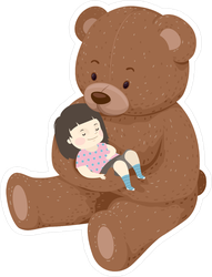 Girl Sleeping In The Arms Of A Teddy Bear Sticker