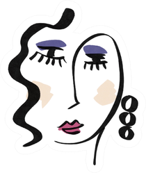 Girl With Makeup Abstract Linear Portrait Contemporary Artist Sticker