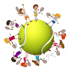 Girls And Boys Playing Tennis Illustration Sticker