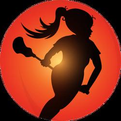 Girls Lacrosse Player Silhouette Sticker